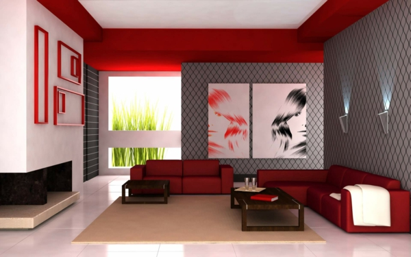 luxus wohnzimmer mit grauen wnden und akzenten in rot - Wohnzimmer Grau Und Rot