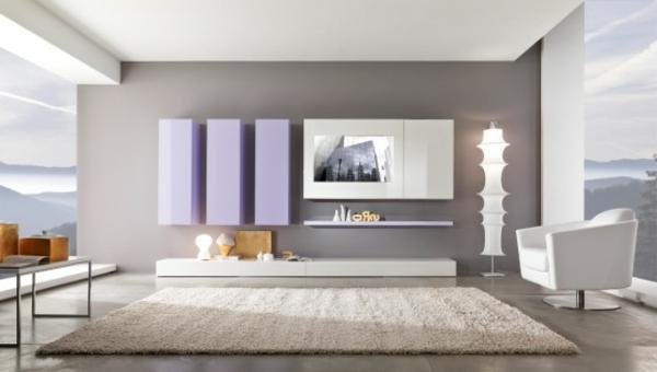 wohnzimmer beige grau:wandgestaltung mit grauer und weißer farbe großes teppich