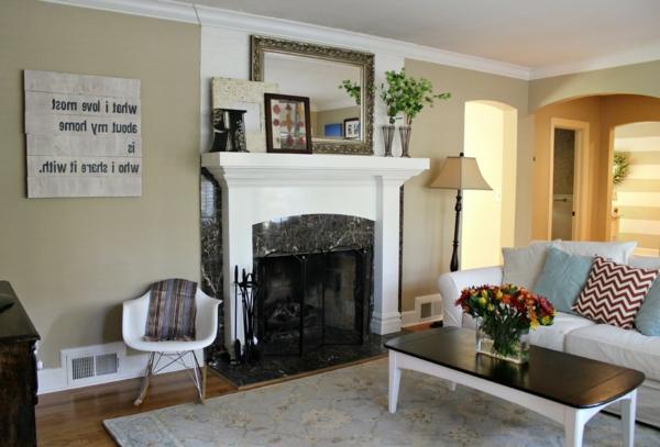 wohnzimmer modern einrichten - helle wandfarbe und dekoblumen
