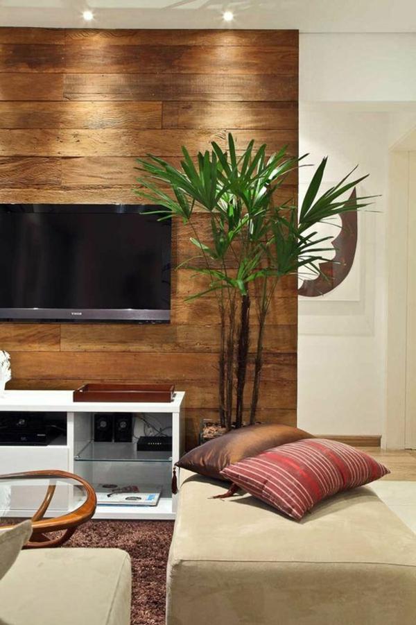 wohnzimmer mit einem fernseher, dekorative deko-pflanze