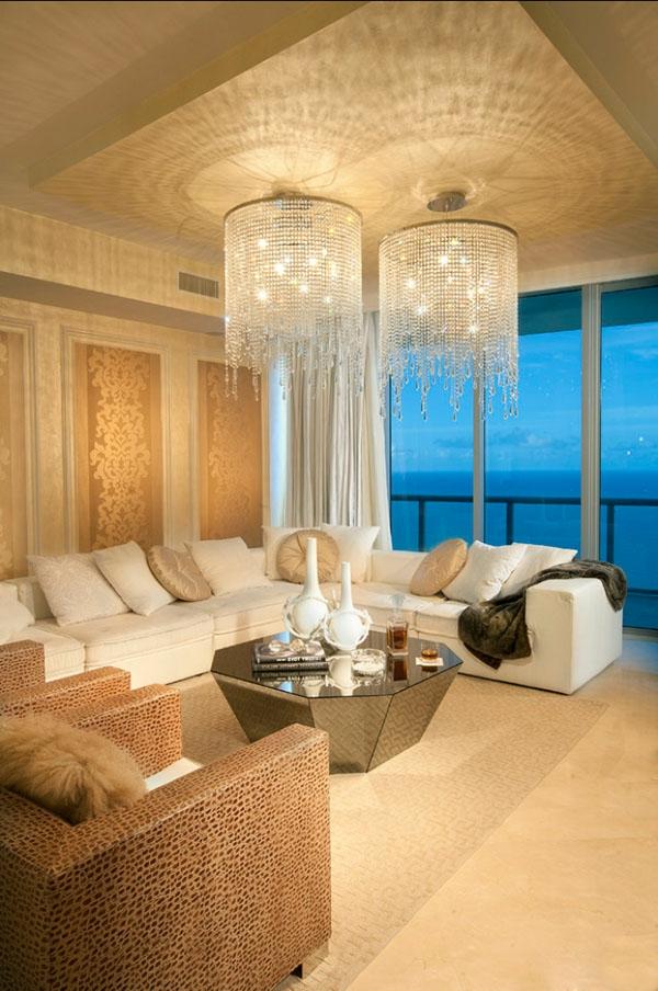wohnzimmer idee - kronleuchter aus glas