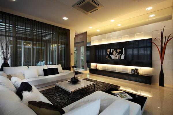 schwarze und weiße farbkombinationen fürs wohnzimmer