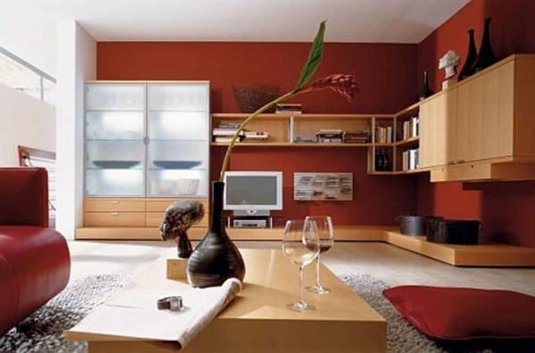 wohnzimmer schön gestalten rote wände