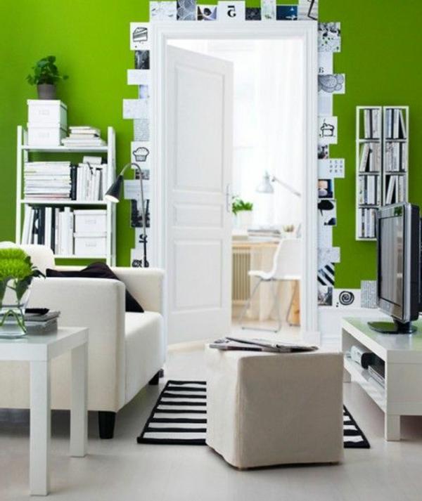 wohnzimmer grün weiß:wandfarbe fürs wohnzimmer – grün