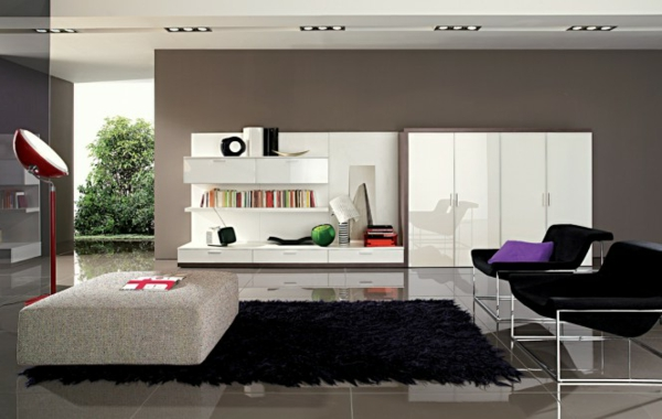Moderne Möbel Und Graue Wandfarbe Im Wohnzimmer