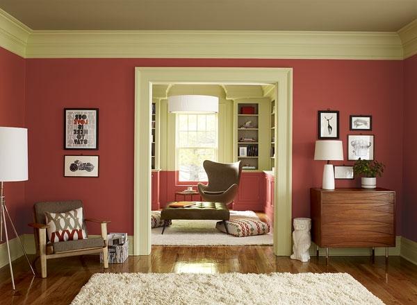 Wohnzimmer Modern Ainrichten   Rote Farbe Wohnzimmer Streichen ...