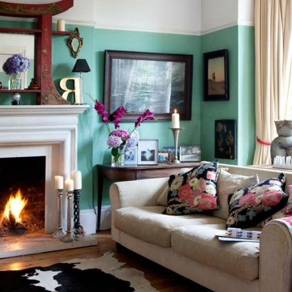 wohnzimmer modern gestalten - wände in weiß und türkis farbe streichen