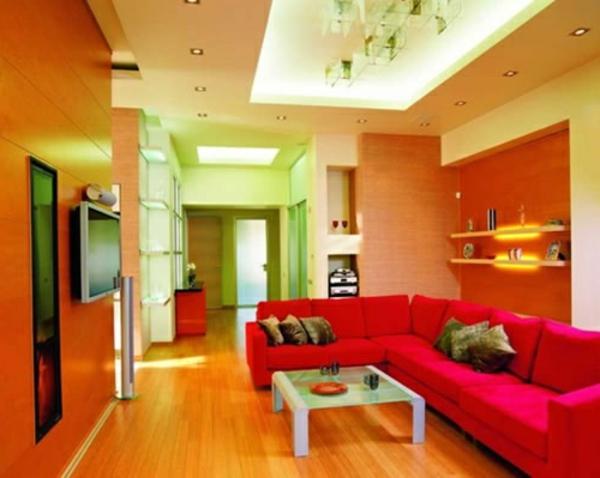 wohnzimmer streichen ideen - grelle farbtönungen
