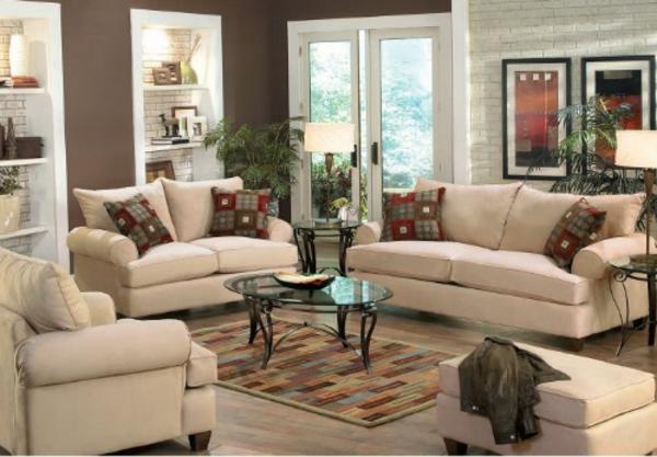 wohnzimmer mit weißen möbeln und wandfarben - grau und weiß