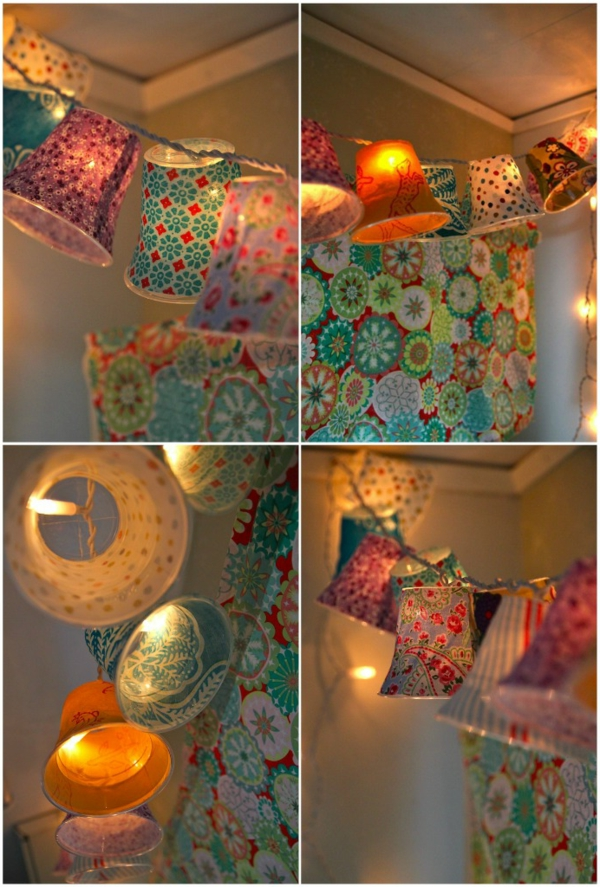 selber gemachte hängende lampen - wie bunte glocken erscheinen