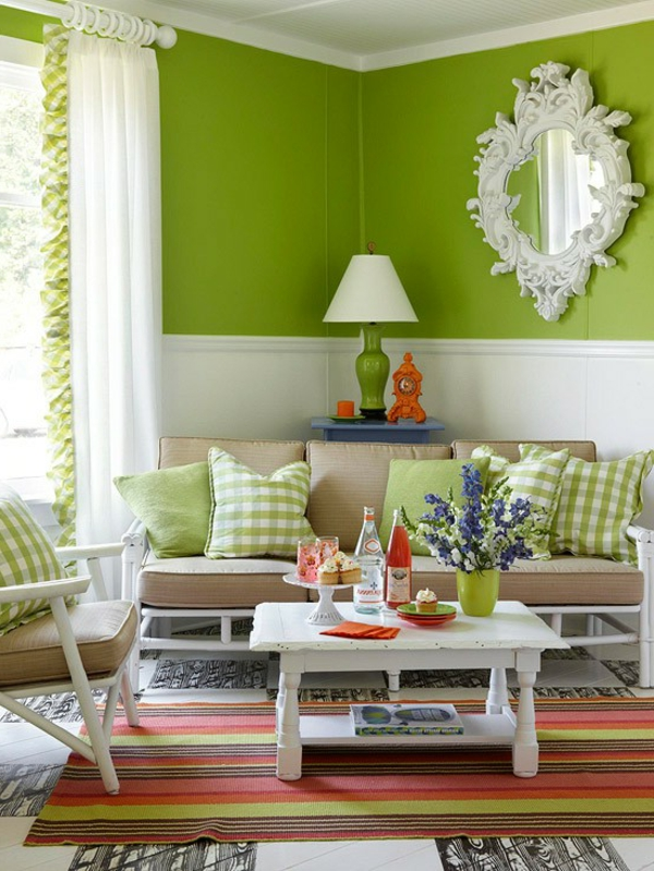 Sala De Estar Estilo Retro ~ schöne wandfarben  grün und weiß kombinieren, spiegel an der wand