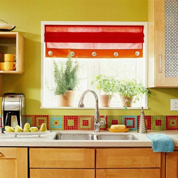 Fliesenlack-und-Fliesenfarben-küche-spüle- küchenspiegel mit bunten fliesen