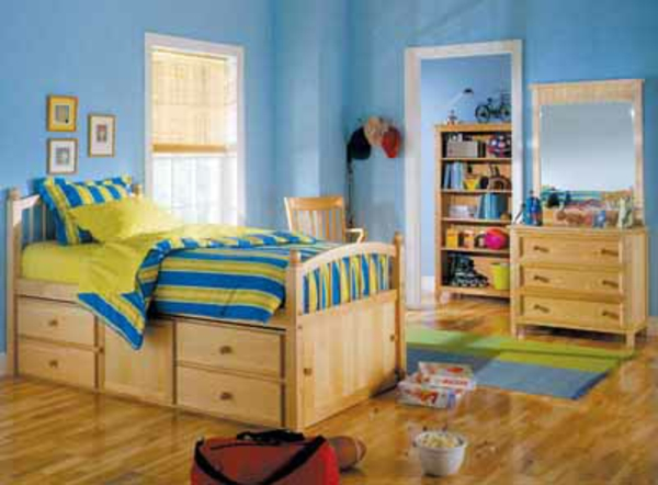 Jugendzimmer-Wandfarben Ideen-im-Himmelblau