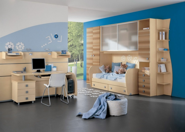 Kinderschlaffzimer Wandfarben Idee in Himmelblau