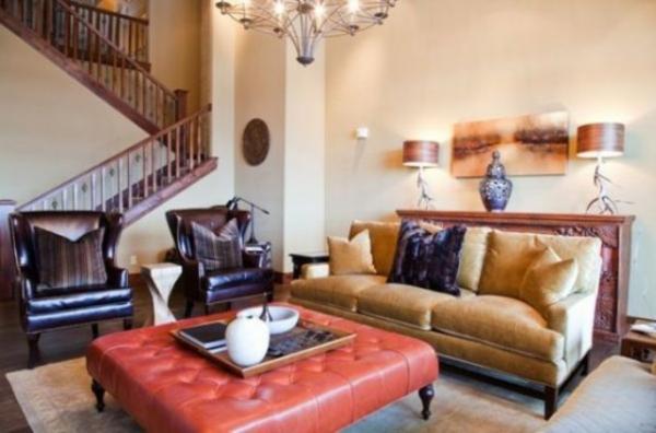 Schickes Wohnzimmer Gestaltung Ottomane