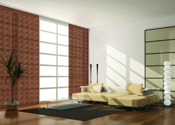 Schiebegardinen- braune-farbe-modernes sofa