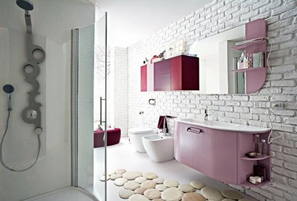 badezimmer-rosige-nuancen, dekorative steine