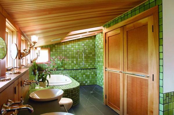 badezimmer-braun-grün- moderne kombination - bad fliesen ideen