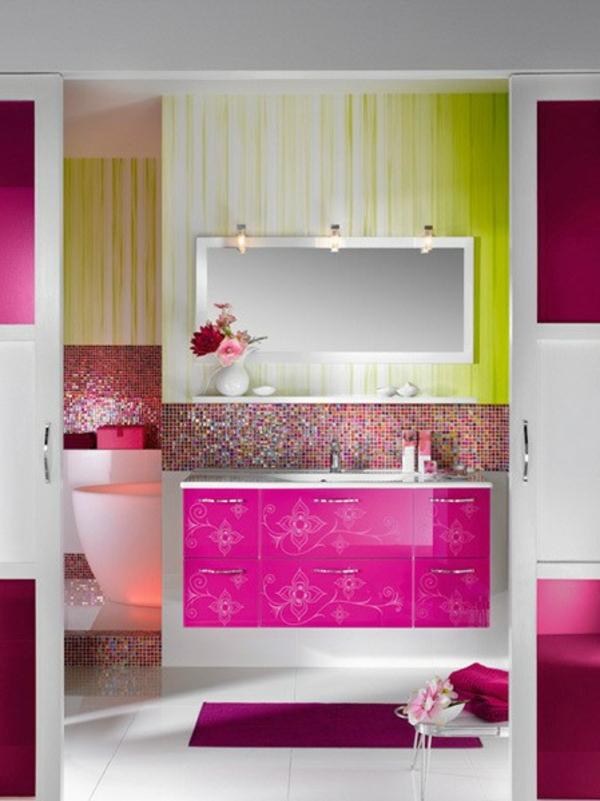 badezimmer-design-mit-grellen-farben - helle farbnuance