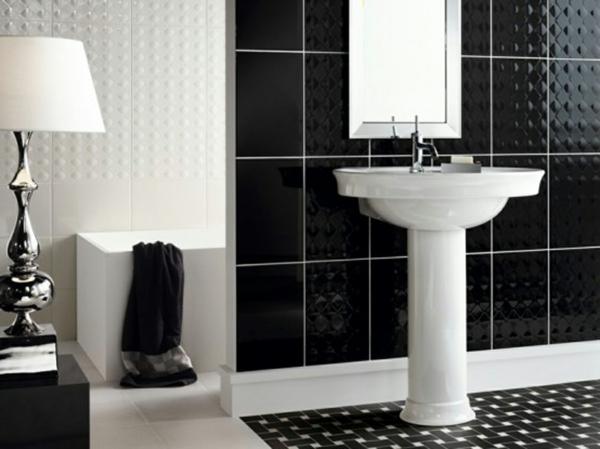 badezimmer-design-schwarz-und-weiß kombinieren