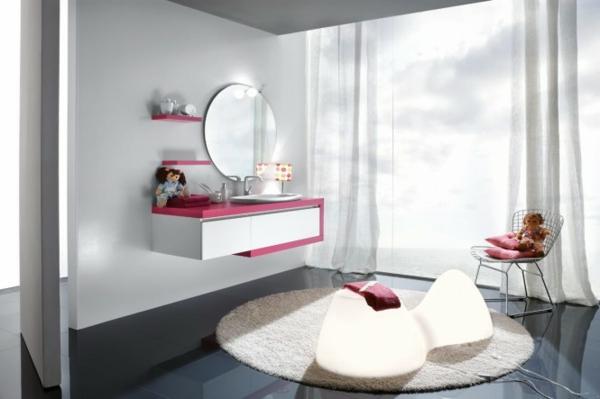 badezimmer-für-mädchen- runder spiegel mit einem runden teppich kombinieren