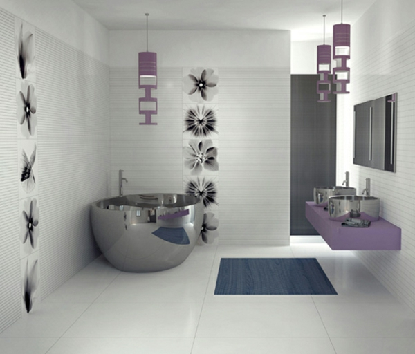 badezimmer-mit-lila-elementen, interessante badfliesen
