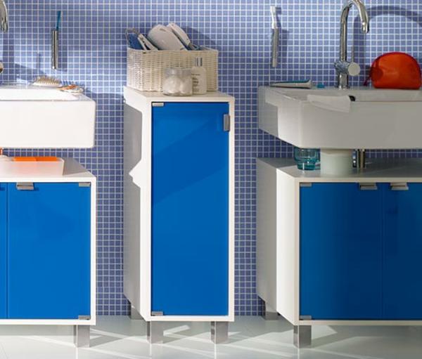 badschrank-blau - zwei waschbecken in blau