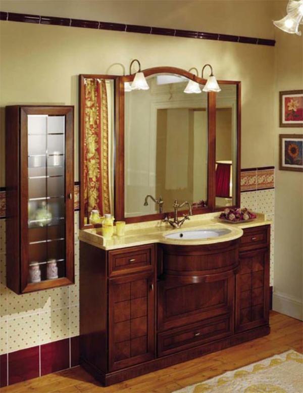 badschrank-im-luxuriösen-badezimmer-mit einem hölzernen möbelsett