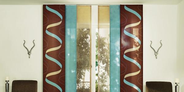 blau-und-braun-moderne-schiebevorhänge- schöne Wohnung