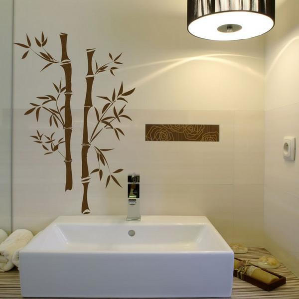 blumen-dekoration-bad-kreativ- bambusstücke malerschablone