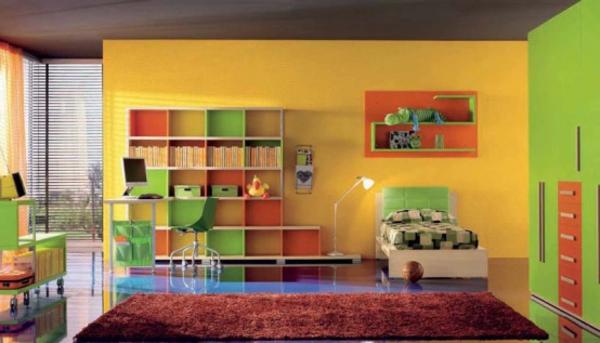 buntes-jugendzimmer-moderne-gestaltung - weiches teppich