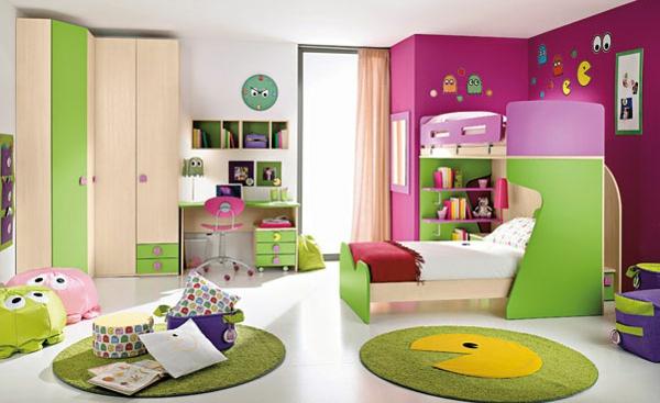 Vorschlage Gestaltung Kinderzimmer : moderne raumgestaltung fürs kinderzimmer  runde teppiche , bunte