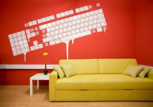 design : wandgestaltung wohnzimmer gelb ~ inspirierende bilder von ... - Wandgestaltung Wohnzimmer Orange