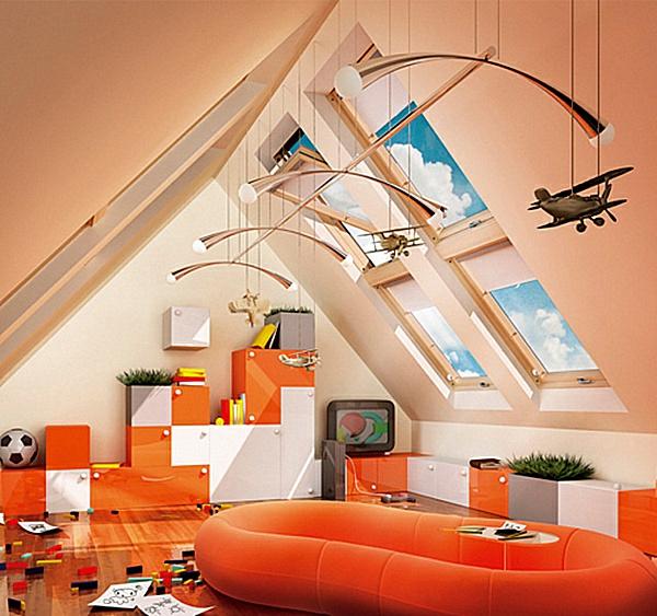 dachwohnung-ultramodern-ausstatten-grelle-orange-farbnuance- hängende dekoartikel