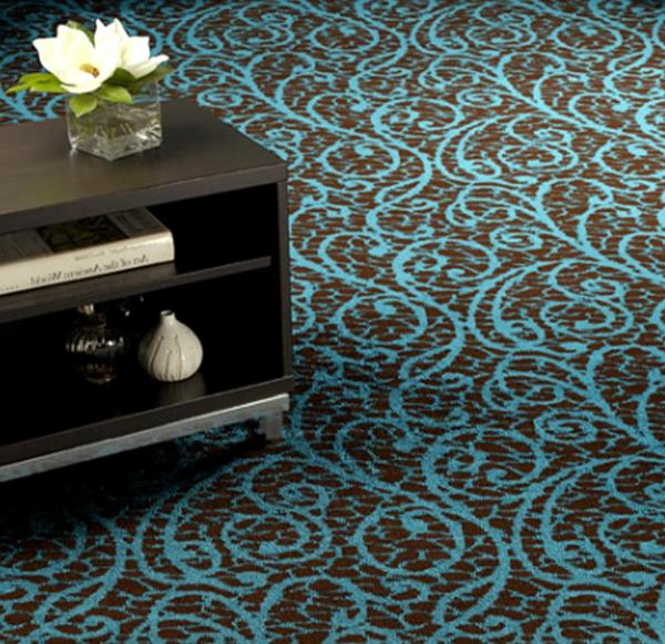 designer-teppich-moderne-farbkombination- blau und braun