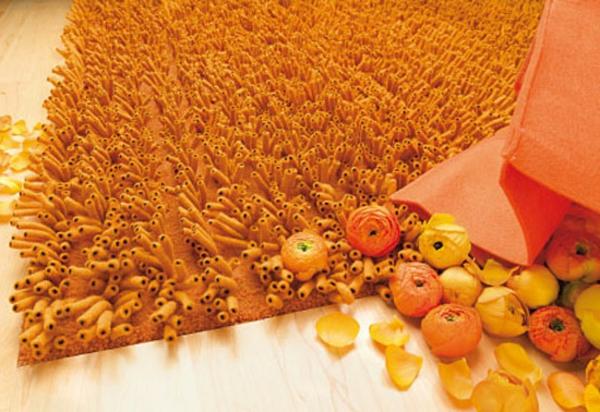 designer-teppich-orange-farbe- moderne gestaltung