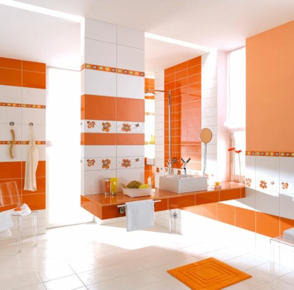 fliesenfarbe-orange-und- weiß- moderne badezimmer gestaltung