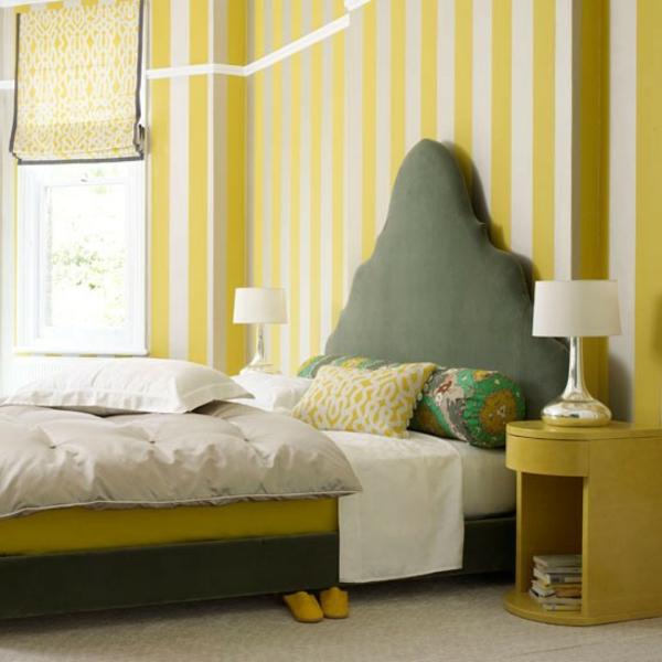 schlafzimmer tapeten gelbe und weiße linien