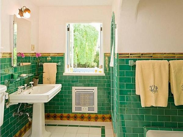 grüne-bad-fliesen-ideen-fürs-badezimmer- interessante gestaltung