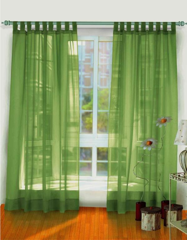 grüne durchsichtige gardinen im zimmer mit weißer gestaltung