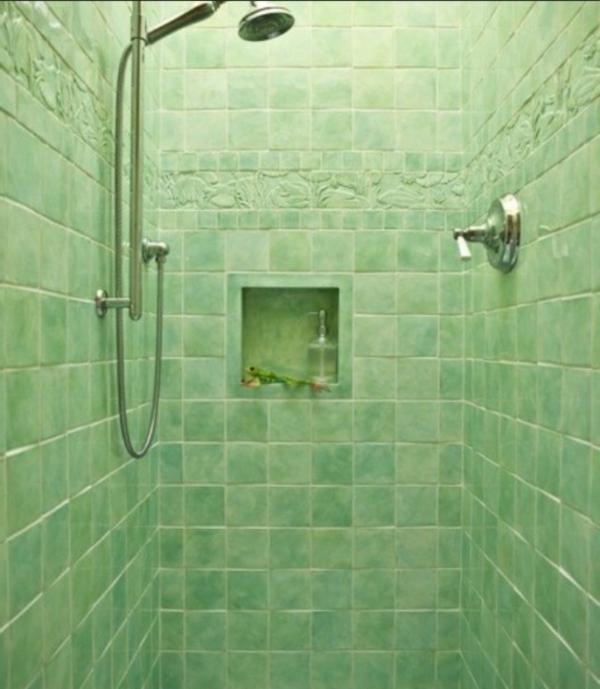 grüne-duschkabine- moderne bad fliesen ideen