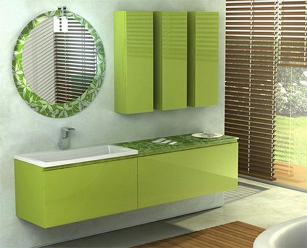 grüne-möbel-im-badezimmer - jalousien