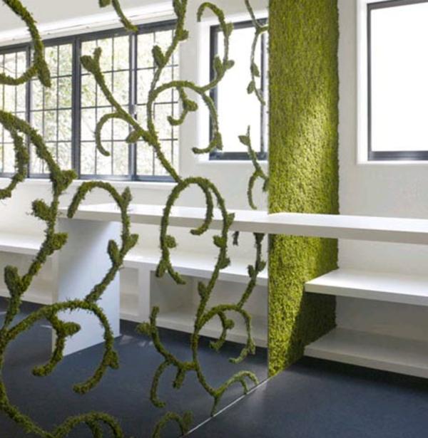 grünes-wohnzimmer-raumteiler-interessantes modell