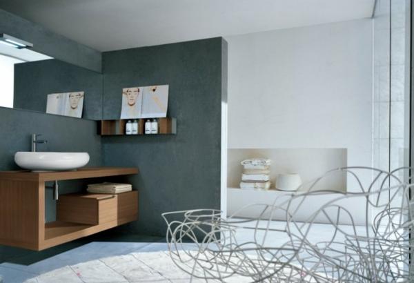 graue-gestaltung-vom-modernen-badezimmer mit grauen farbtönungen