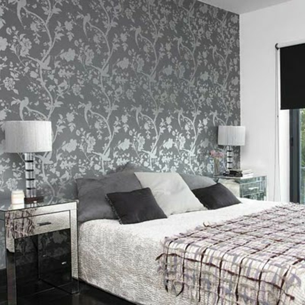 tapeten schlafzimmer grau. Black Bedroom Furniture Sets. Home Design Ideas