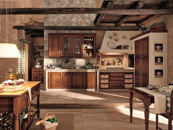 große-küche-im-landhausstil - holzmöbel