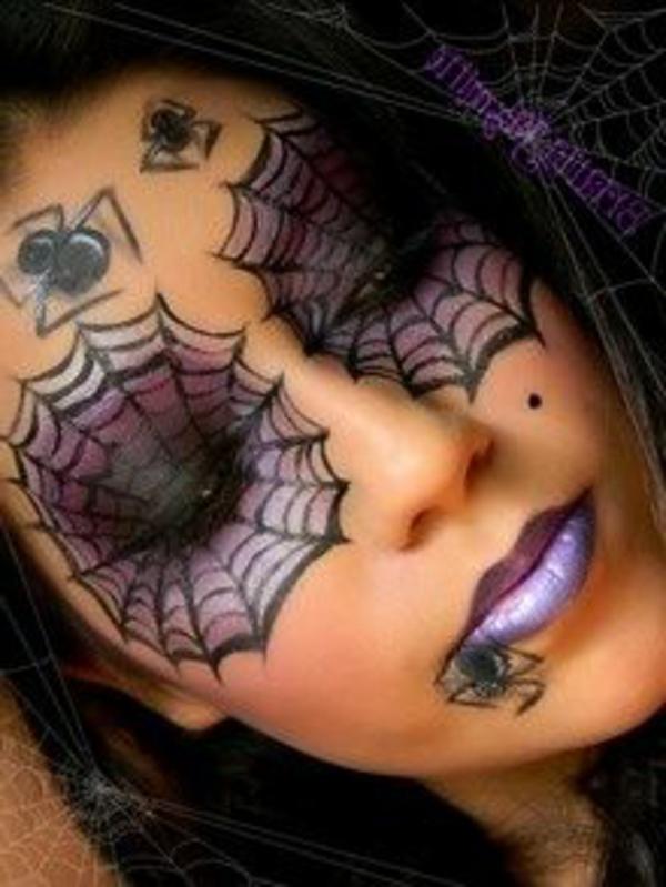 halloween-gesichter-schminken-schöne-frau- spinnen