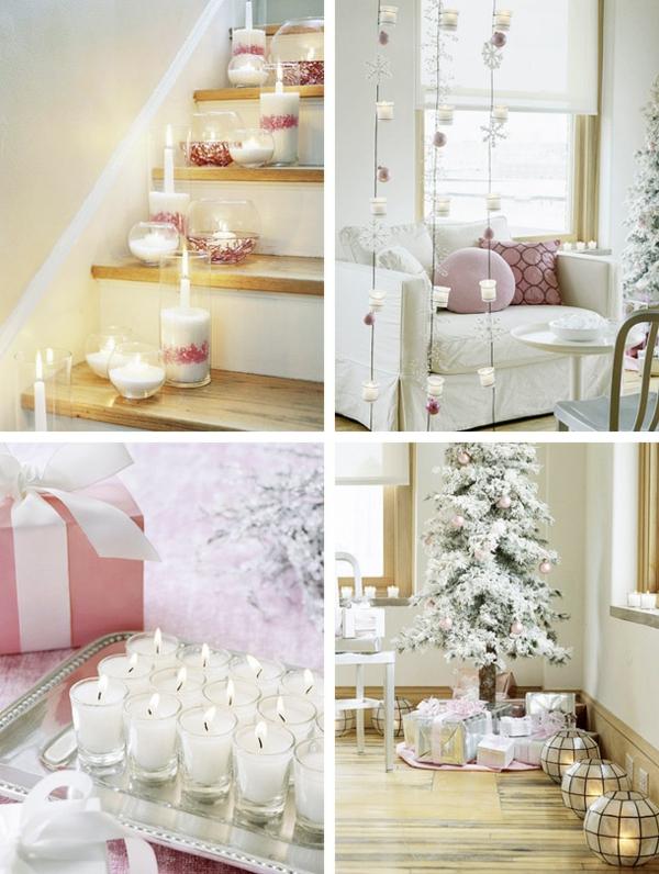 weiße hauptfarbe für kerzen als schöne elegante dekoration zum weihnachten