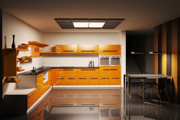 inspirierende-wohnidee-für-küche-orange-farbe- schöner schrank