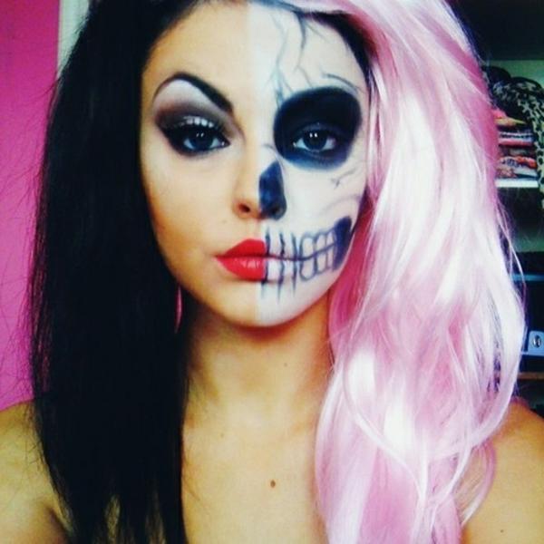 interessante-idee-für-halloween-maske- eine halbe des gesichts